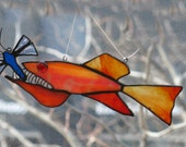 Fish eating Dragonfly Stained Glass  Suncatcher