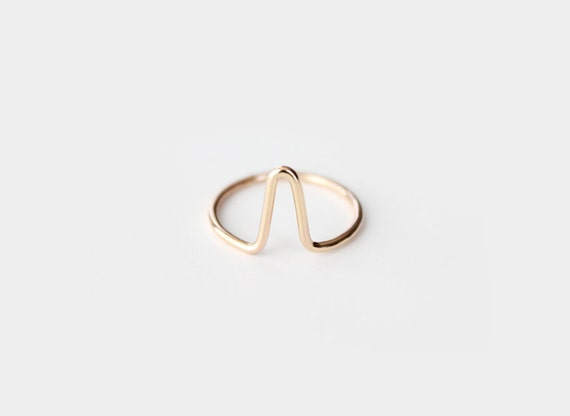 Gold Filled V Ring - Big V Band Ring