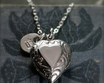 Heart Locket Necklace, Sterling Silver Locket w/ Hand Stamped Initial Charm - Princess at Heart