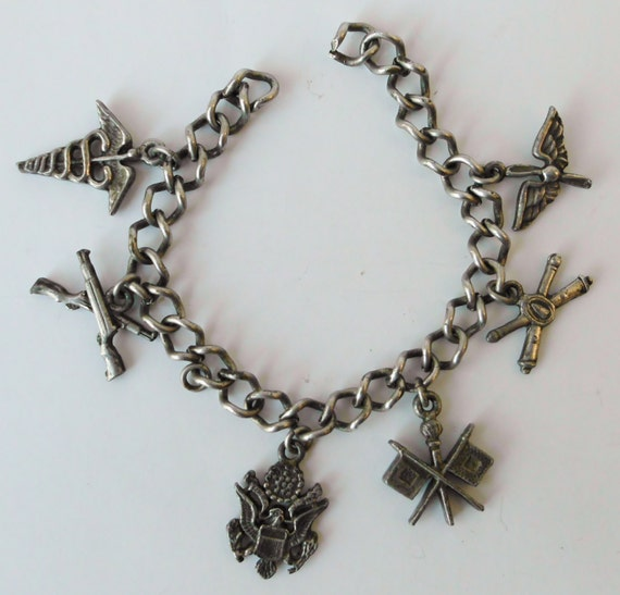 Vintage Charm Bracelet WWII WW2 Sweetheart Military Army 1940s Antique Jewelry Charms Pin Up Rockabilly Mid Century Swing Made in USA