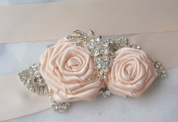 Blush Bridal Sash, Blush Flower Bridal Sash, Wedding Belt, Rhinestone Sash, Crystal Bridal Sash - SLOANE