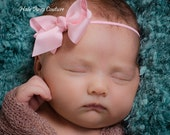Pick 4-Newborn Hairbow Headbands Soft Skinny Elastic Hair Bow Headbands newborns, infants, todders and girls