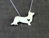 Cardigan Corgi necklace, sterling silver hand cut pendant, with heart, tiny dog breed jewelry