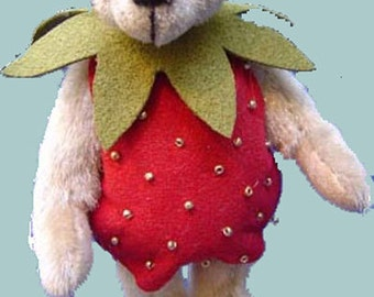 Strawbearie Miniature Teddy Bear PDF pattern only