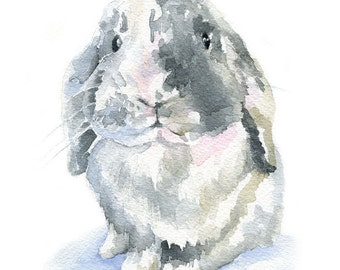 Gray Lop Rabbit Watercolor Painting - 11 x 14 - Giclee Print