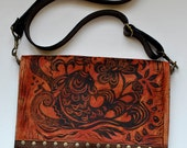 "Small Leather Messenger  With Koi Print ""The Uptown"""