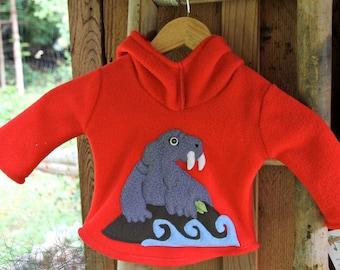 Childrens Red Fleece Walrus Hoodie XS / S