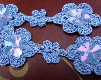 """10 yards of 1"""" wide blue flower with clear sequins crochet lace trim for sewing and crafts ST"""