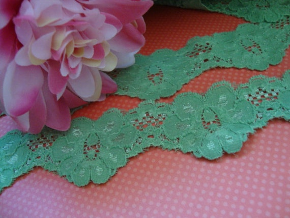 "Go Green! 50 yards 1 1/2"" width ( 38mm ) Stretch spearmint green scalloped edge wedding bridal lingerie lace trim ST"