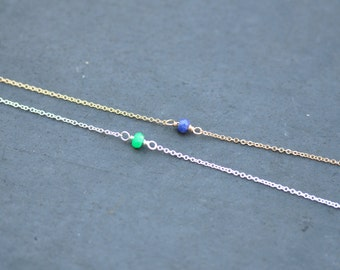 sapphire necklace on delicate gold chain, bridesmaid necklace, september birthstone necklace, minimalist jewelry, layering necklace