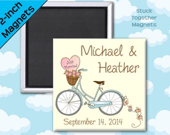 Wedding Favor Magnets - Romantic Bike - 2 Inch Squares - Set of 10 Magnets