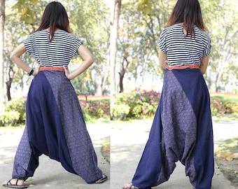 100 percent Cotton reversible pants Jinny Harem Lisu bloomer natural triangle Tribal Blue Batik