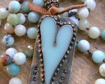 Country chic heart necklace - She Loves - Bohemian jewelry romantic heart jewelry Boho jewelry sky blue knot necklace soldered jewelry