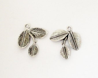 Silver Leaf Charm - 3 Silver leaves Pendant - 3 Leaf Charm With Loop - 6 Pcs - One Sided - Bulk Option - Earrings Charm - DIY Spring Jewelry