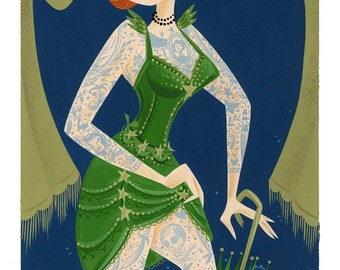 Venus Verde, The Tattooed Lady-Giclée Print