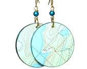 Turquoise Green, Topo Map Earrings, Upcycled Jewelry, Repurposed Maps,