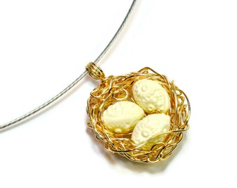 Woodland Birds Nest Necklace, Robin's Nest Pendants with Eggs, Gifts for Women