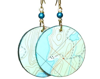 Blue and  Green, Topo Map Earrings, Summer Earrings, Upcycled Jewelry, Repurposed Maps, Turquoise, Snoqualmie Pass