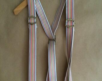 vintage 1980's acid wash denim suspenders / rainbow striped suspenders / unisex / Mork & Mindy style