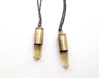 Yellow Quartz Bullet Necklace