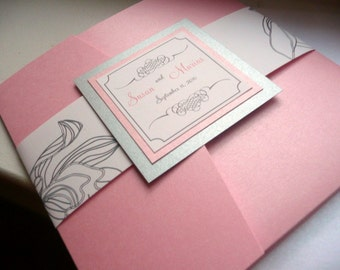 Pink and Silver Wedding Invitation, Silver, Pink, Silver Invitations, Pink Pocket Invites -  Orchid Pocketfold Sample
