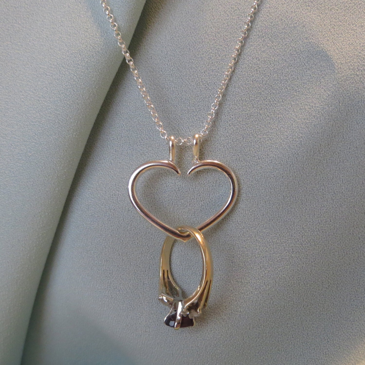 Heart engagement ring holder necklace charm pendant sterling for Wedding ring necklace
