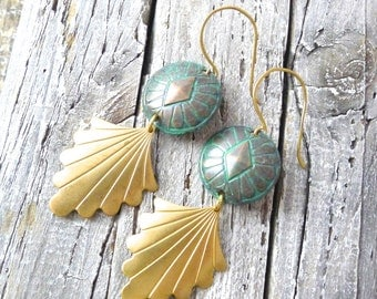 Concho Fans Earrings - Green Patina Southwestern Conchos with Golden Brass Scalloped Fans