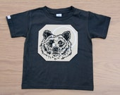 G is for Grizzly - hand drawn, hand printed onesie or t-shirt, tan w/ moon