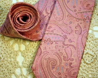 Men's Tie, Silk, Pink Paisley, Paul Dione, Brocade, Pastel, Paisley, Pink, China, Pale Blue, Dressy, Extra Long, FREE US Shipping