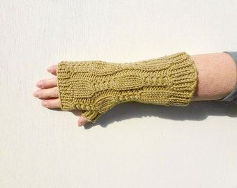 Cable Fingerless Gloves, Hand Knitted Gloves, Warm Long Gloves, Camel Men's Gloves, Womens Autumn Fashion, Winter Accessories - Camel Brown