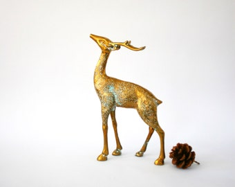 Vintage Brass Deer Reindeer Figurine Large Tall Stag Woodland Animal Winter Spring Home Decor Gold Golden Cozy Statue Christmas Decor