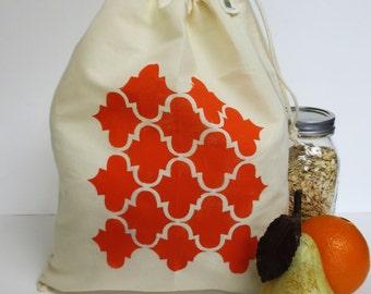 Organic Cotton Drawstring Produce Bag - Hand Printed with Orange  Moroccan Moorish Tile Design