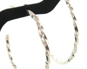 Sterling Silver Twisted Wire Hoop Earrings