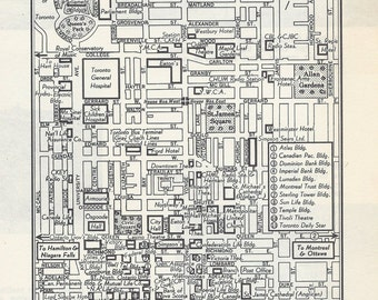 Toronto Canada Map, City Map, Street Map, 1950s, Black and White, Retro Map Decor, City Street Grid, Historic Map