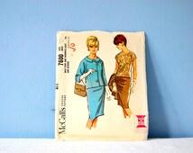 1960s Women's Suit Pattern Vintage Three Piece Suit McCalls 7600 Women's 1960s Pattern Slim Skirt Jacket Raglan Scoop Neck Blouse Size 12 5
