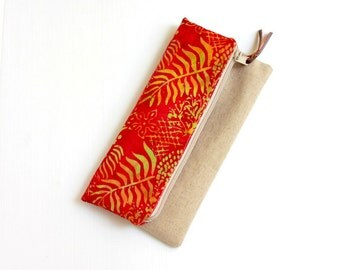Fold over clutch, Foldover clutch, Poppy Red Bali Batik Beige Handbag, Zippered Wallet Purse Evening clutch