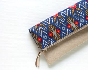 Fold Over Clutch, Foldover Clutch, Sapphire Blue Indonesian Ikat Evening Clutch, Linen Cotton Folded Handbag