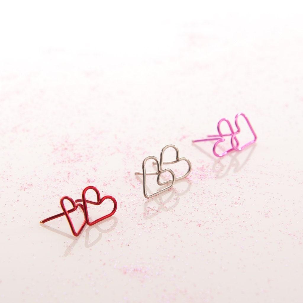 Heart Earrings - Custom Personalized Heart Studs - Cute Jewelry