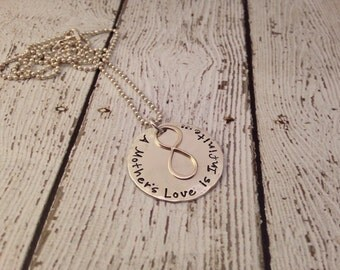 Mother's Day Infinity Necklace Hand Stamped Sterling Silver Gift for Mom Grandma Nana