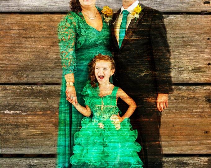 Family Portrait Wood Print REAL WOOD print Custom Anniversary Gift Wedding Decoration or Wedding Anniversary Gift 16x20