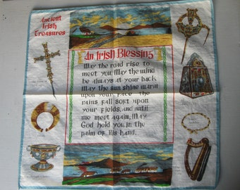 Vintage Irish Blessing Handkerchief, Wedding, Souvenir Hankie, Ancient Irish Treasures