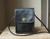 Authentic Vintage Coach Scooter Bag - Made in USA - Black Leather Small Crossbody Bag