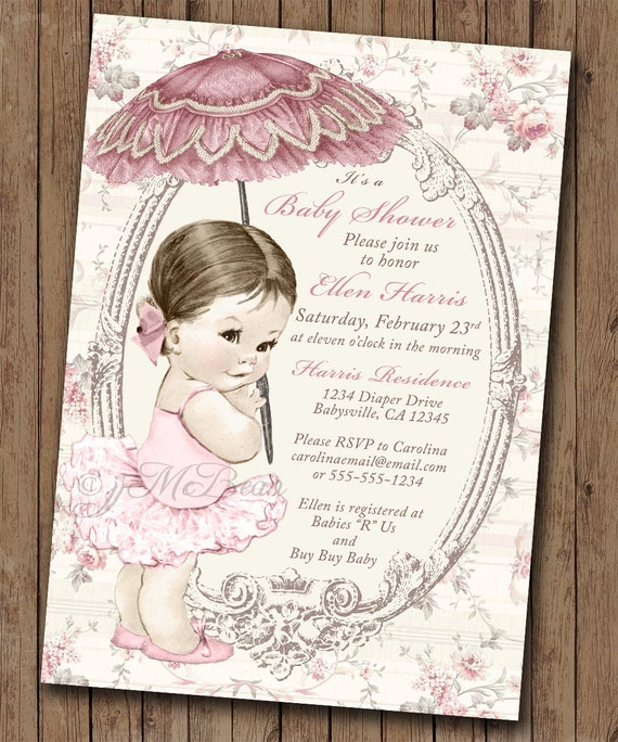 Girl baby shower invitation shabby chic floral vintage baby like this item filmwisefo Images