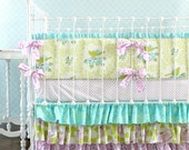 Aqua and Lavender Lottie Da crib bedding
