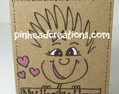 "Greeting Card PinHead Happy Face ""My Heart is Happy"""""