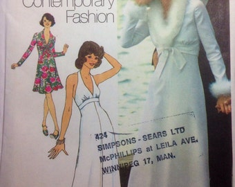 Vintage Sewing Pattern Retro Misses Halter Midriff Dress and Jacket 1974 Miss Size 10 Uncut