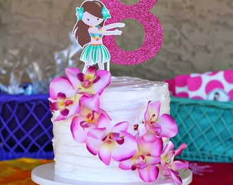 Luau Party Custom Age Number Cake Topper - Hawaiian Hula Hula Collection