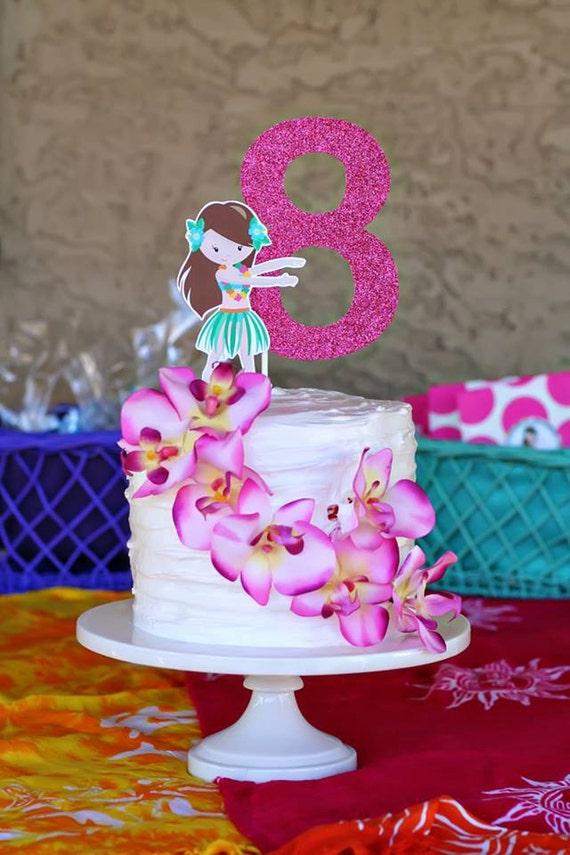 Luau Party Custom Age Number Cake Topper Hawaiian Hula Hula
