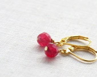 Summer Party Gift Genuine Ruby Earrings. Gold Filled Wire. Gold Leverback Earrings. Simple Minimalist Gemstone Earrings. Round Cut AAA Grade