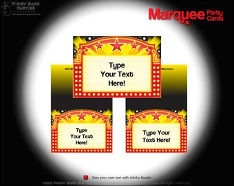 MARQUEE Party Cards : DIY Printable Food Tents and Party Labels // Hollywood Star // Movie Night // Birthday Party - Instant Download